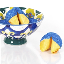 All natural vanilla fortune cookies hand dipped in white chocolate then decked out in sapphire blue bling.