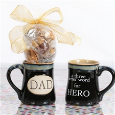 This hero mug with chocolate covered gourmet flavored fortune cookies is perfect for any dad!