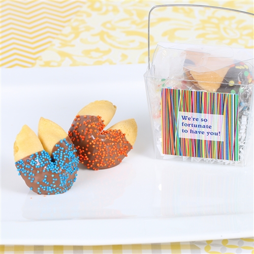 2 Custom fortune Cookies in Fun Takeout Box