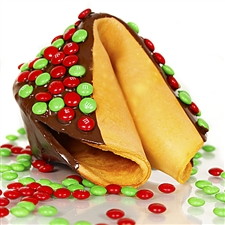 Chocolate covered giant fortune cookie covered with real M&M's. Your edible gift is sure to please especially when filled with good fortune on your personalized message.