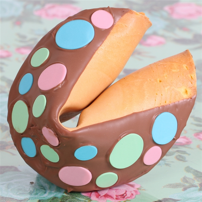 This amazing giant fortune cookie is perfect for any event or party favor. Our giant fortune cookies are always baked fresh right here in our bakery.