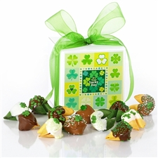 This Dazzle Dozen gift box of chocolate covered fortune cookies is the perfect St. Patrick's Day gift for anyone Irish at heart.