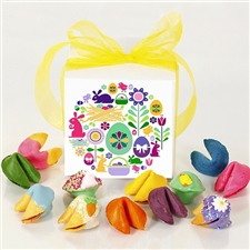 This Easter gift box of colored fortune cookies is perfect for your favorite easter bunny.