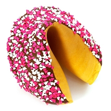 A beautiful gigantic fortune cookie dipped in sensual dark chocolate and decorated for Valentine's Day or any day with pink and white hearts. Your fortune cookie message included!