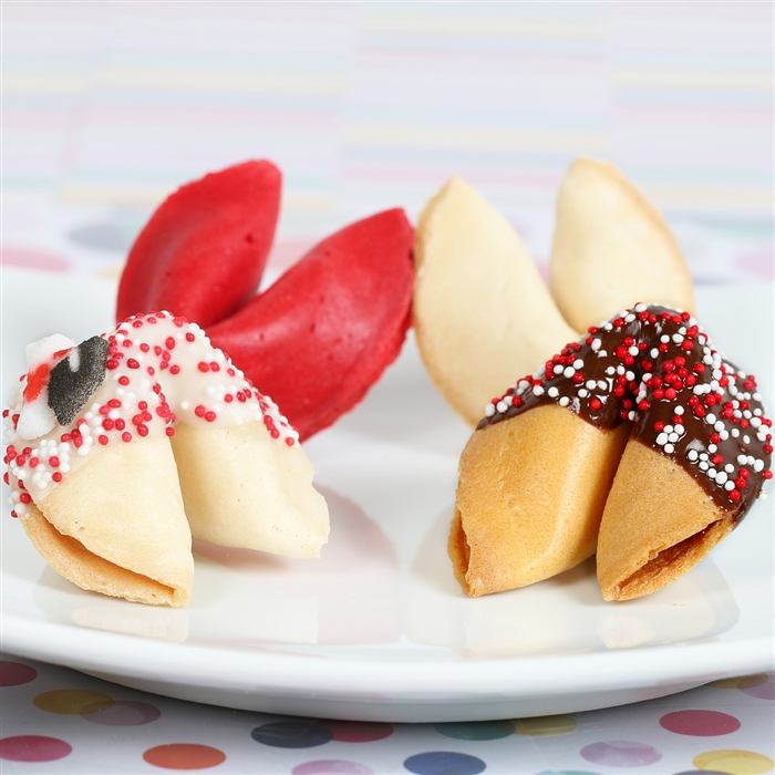 Choose your fortune cookie flavor, chocolate dipping and write your own custom forutnes.