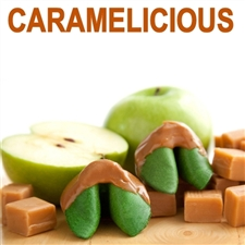 Caramel Apple Flavored Fortune Cookies Dipped in Caramel.