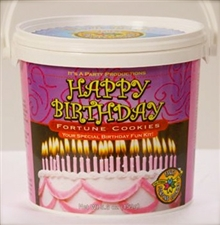 Festive birthday wishes celebration pail filled with 25 fortune cookies, each with it's own birthday fortune inside.