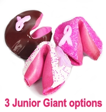 Each Junior Giant fortune cookie comes with your custom fortune inside. Chocolate covered and decorated with a breast cancer awareness ribbon, these fortune cookies make a big impression.