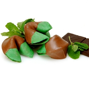 Mint flavored fortune cookies make an even more refreshing treat when you have them covered in rich belgian chocolate. Gourmet fortune cookies just got better! Custom fortunes included in each order.