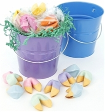 This Easter basket of colored fortune cookies is perfect for your favorite easter bunny.