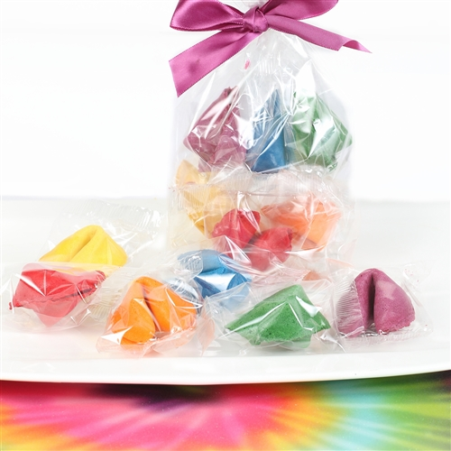 We have a rainbow assortment of flavored fortune cookies. Each gourmet fortune cookie comes personalized and individually wrapped.