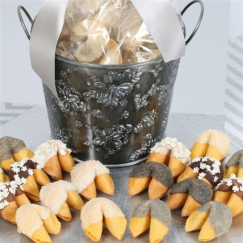Share good fortune all Hanukkah and holiday season long with these vanilla fortune cookies dipped and decorated for the frosty air.