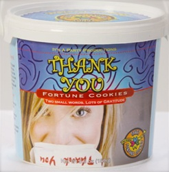 Great Big Thank You fortune cookie pail, the perfect gift to share your good fortune and express your gratitude. Filled with 25 gourmet fortune cookies bursting with thanks!