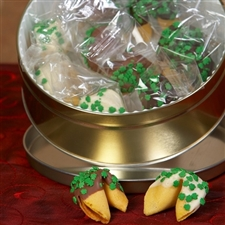 A Shamrock studded fortune cookie gift, the chocolate covered fortune cookies are individually wrapped.
