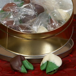Breath freshening mint fortune cookies chocolate covered, the perfect fortune cookie gift for the holidays or someone with really bad breath!