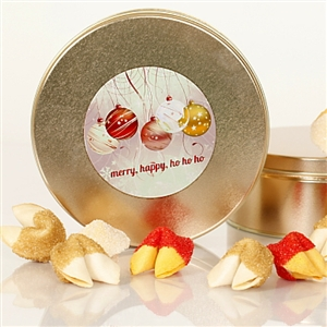 Chocolate covered fortune cookies. Each cookie is individually wrapped with Holiday messages of good cheer or a traditional good luck fortune.