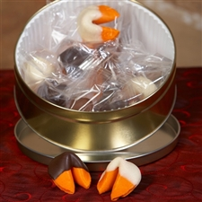 Chocolate covered fortune cookies in the bestselling orange flavor!