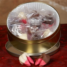 Fortune cookie gift in a pretty pink raspberry chocolate covered fortune cookies.
