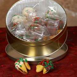 Traditional fortune cookies dipped in assorted chocolates with Christmas sprinkles.