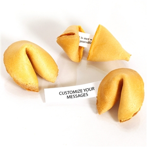 Traditional fortune cookies made with real vanilla! Your custom fortune cookies are baked fresh and individually wrapped for the ultimate in fresh.