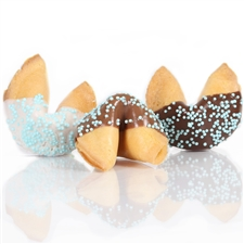 Traditional vanilla fortune cookies chocolate covered with pastel candy dot sprinkles! Also choose from milk and white chocolate.