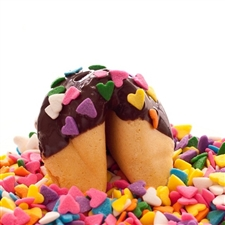 Traditional vanilla fortune cookies covered in dark chocolate with bright heart sprinkles! Also choose from milk and white chocolate.