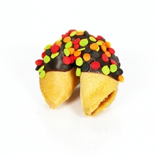 Traditional Vanilla Fortune Cookies covered in milk, white and dark chocolate with fun fallfetti!