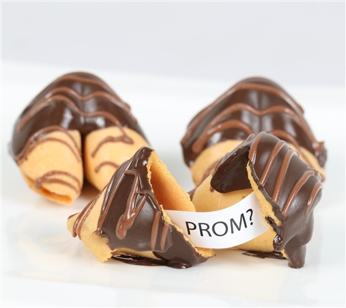 Chocolate dipped fortune cookies for a unique promposal! Each prom fortune cookie is chocolate dipped and individually wrapped.