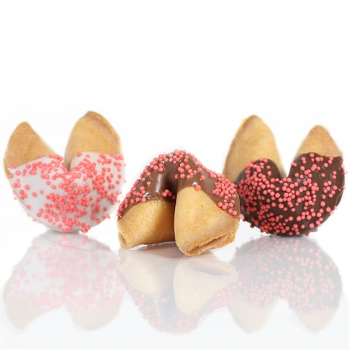 Traditional vanilla fortune cookies chocolate covered with pastel candy dots sprinkles! Also choose from milk and white chocolate.