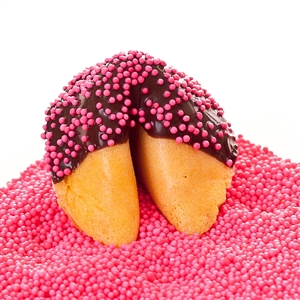 Custom fortune cookies in traditional vanilla flavor hand-dipped in your choice of milk, white or dark chocolate. Each fortune cookie is sprinkled with pink sprinkles.