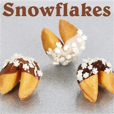 Traditional vanilla fortune cookies covered in dark chocolate with candy sprinkles shaped liked Snowflakes. Also choose from milk and white chocolate.