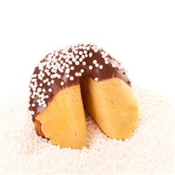Custom fortune cookies in traditional vanilla flavor hand-dipped in your choice of milk, white or dark chocolate. Each fortune cookie is sprinkled with Rainbow sprinkles.