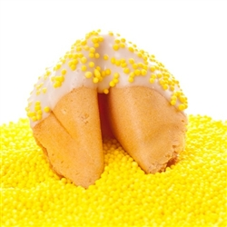 Custom fortune cookies in traditional vanilla flavor hand-dipped in your choice of milk, white or dark chocolate. Each fortune cookie is sprinkled with yellow sprinkles.