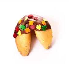 Traditional Vanilla Fortune Cookies covered in milk, white and dark chocolate with fall leaves sprinkles.