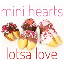 Fortune Cookies with your messages for Valentine's Day. These gourmet fortune cookies are dipped in milk, white and dark chocolate then sprinkled with mini hearts of love.