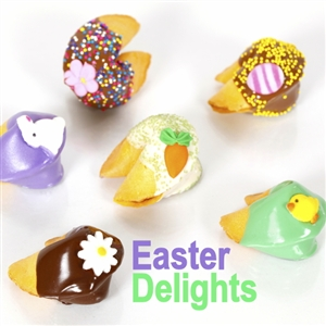 Traditional vanilla fortune cookies all decorated for Easter. Bunnies, chicks, eggs and carrots make these truly eggceptional easter fortune cookies.