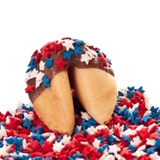 Chocolate covered fortune cookies, decorated for the Fourth of July with Red, White and Blue Stars.