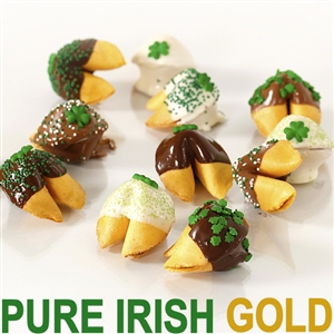 Fortune Cookies with messages for St Patrick's Day. These gourmet fortune cookies are dipped in milk, white and dark chocolate then sprinkled with luck and shamrocks.
