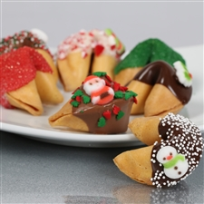 Traditional vanilla fortune cookies covered in chocolate and hand decorated with holiday sprinkles.