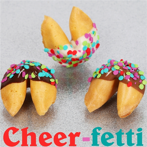 Traditional vanilla fortune cookies covered in chocolate with candy confetti sprinkles. Choose from milk, dark and white chocolate.