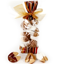 A classy french cello bag in coffee tones encloses a half dozen of our cappuccino fortune cookies. Each one hand dipped in Belgian chocolates.