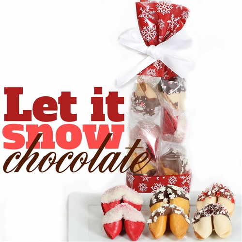 A classy french cello bag covered in holly containing 6 fortune cookies, hand-dipped in assorted chocolates and decorated with holiday sprinkles and crushed peppermint. Flavors include strawberry, coconut and classic vanilla.