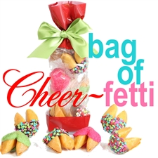 A classy french cello bag covered in holly containing 6 vanilla flavored chocolate covered fortune cookies. Each one hand dipped in Belgian chocolates.