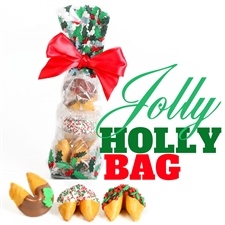 A classy french cello bag covered in holly containing 3 vanilla flavored chocolate covered fortune cookies. Each one hand dipped in Belgian chocolates.