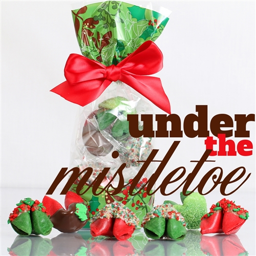 A classy french cello bag covered in mistletoe containing 6 assorted chocolate covered fortune cookies. Each one hand dipped in Belgian chocolates.