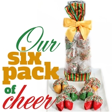 A classy french cello bag covered in festive stripes containing 6 assorted chocolate covered fortune cookies. Each one hand dipped in Belgian chocolates.