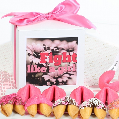 Fortune Cookies with messages for Breast Cancer Awareness Month. These gourmet fortune cookies are dipped in milk, white and dark chocolate then sprinkled with mini hearts of love and other pink sprinkles.