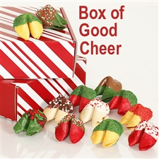 Chocolate covered fortune cookies in assorted rainbow flavors and colors. Each cookie is individually wrapped with Holiday messages of good fortune and good cheer or a traditional good luck fortune.