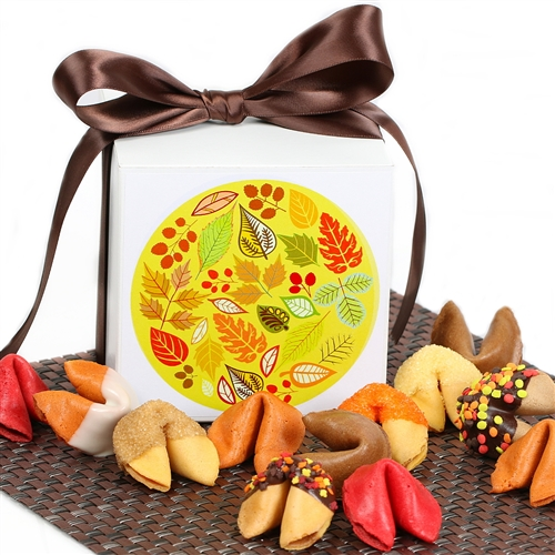 Bring in the autumn with with this warm gift box of one dozen fortune cookies. Each fortune cookie contains a message of good luck and thankfulness.