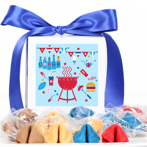 Blueberry, Strawberry, and vanilla fortune cookie explosions! Wave the American flag and show your patriotic side with these gourmet fortune cookies.